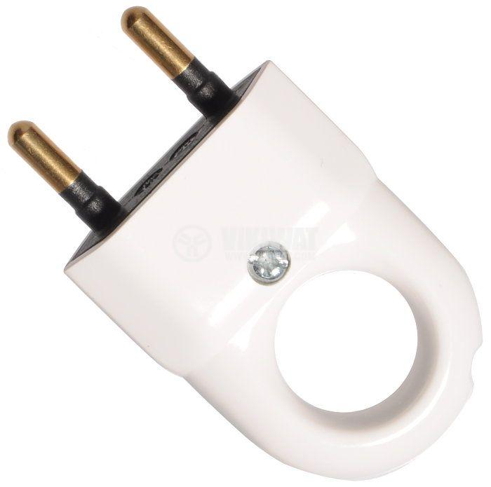 Щепсел двуполюсен с дръжка, 250VAC, 6А, прав, PVC, бял - 1
