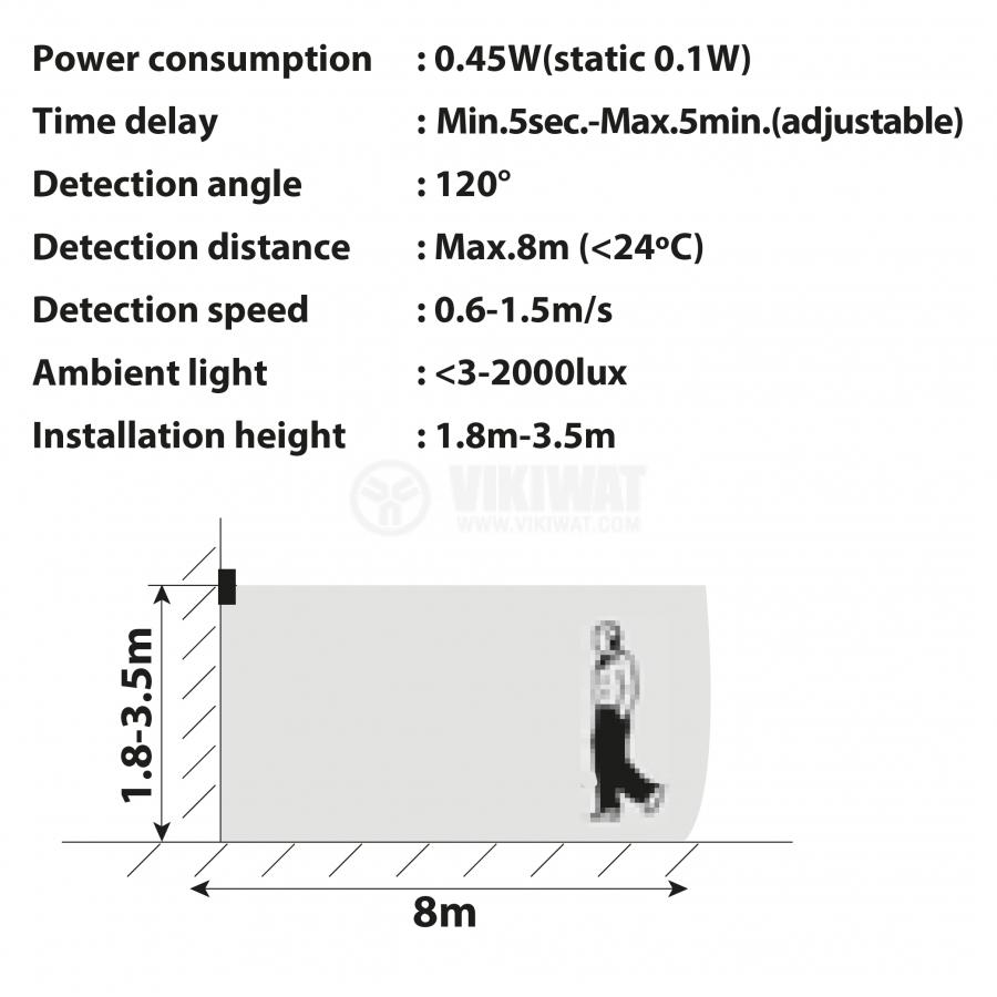 LED floodlight with sensor 30W, 220VAC, 2400lm, 3000K, warm white, IP44, waterproof, SLIM, BT61-23002 - 7