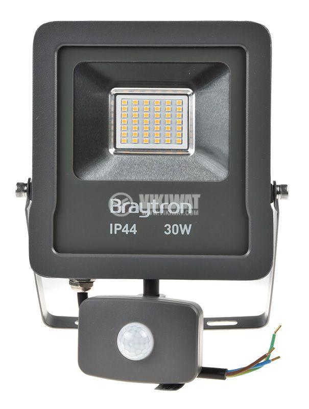 LED прожектор със сензор 30W, 220VAC, 2400lm, 3000K, топлобял, IP44, влагозащитен, SLIM, BT61-23002 - 1