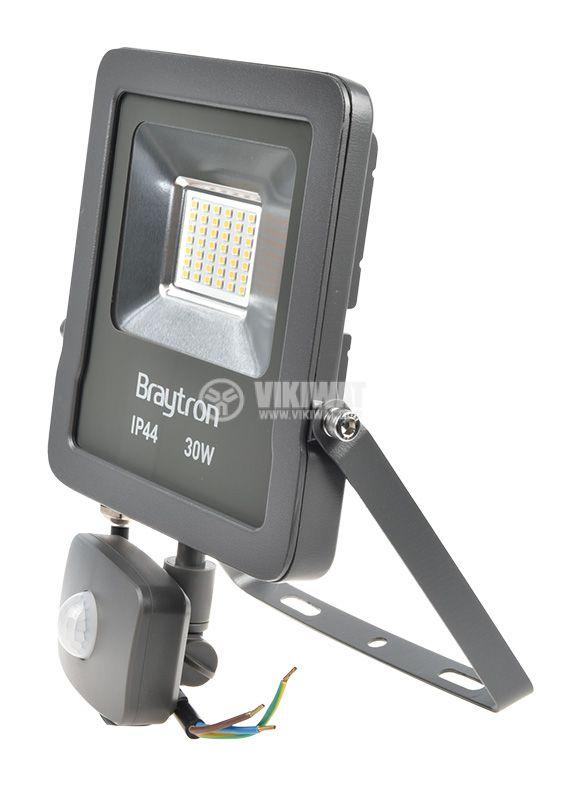 LED прожектор със сензор 30W, 220VAC, 2400lm, 3000K, топлобял, IP44, влагозащитен, SLIM, BT61-23002 - 3