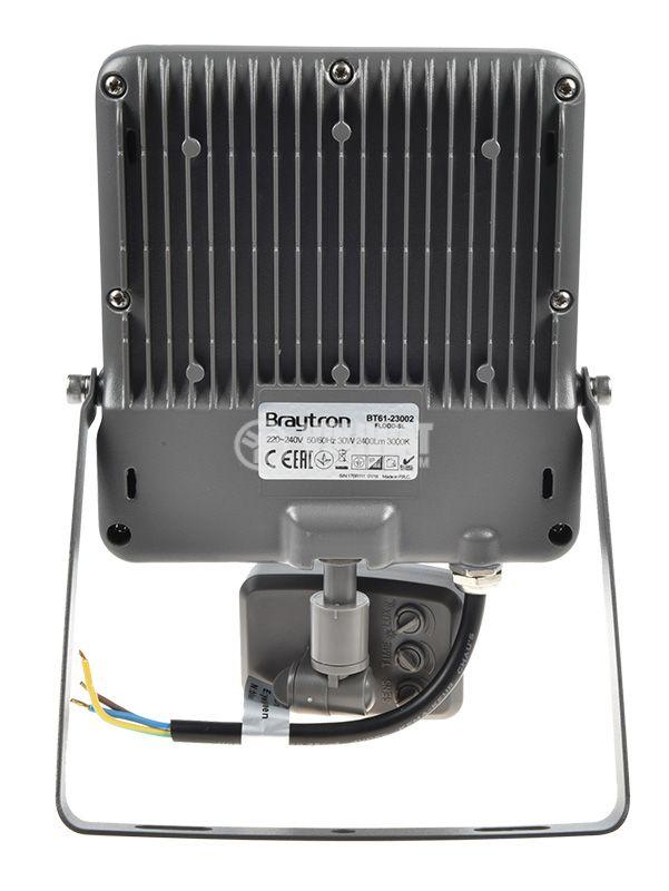 LED прожектор със сензор 30W, 220VAC, 2400lm, 3000K, топлобял, IP44, влагозащитен, SLIM, BT61-23002 - 5