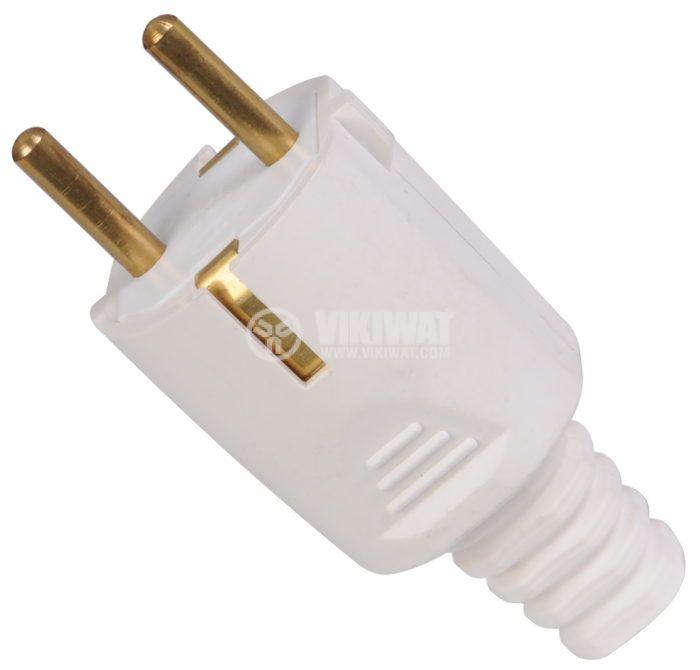 Electrical Schuko Plug, 250VAC,16А, PVC, straight, rubber