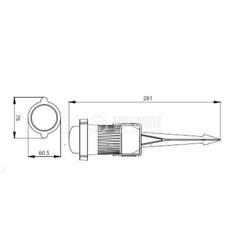 LED градинско тяло 9W, 220VAC, 450lm, зелено, IP65, влагозащитено, BT25-00152 - 2