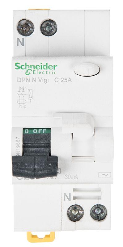 Автоматичен предпазител с дефектнотокова защита DPN N Vigi 2P 25A 30mA AC-type - 1