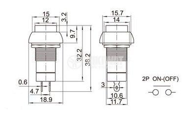Бутон, CY01H-R, NO, 2A / 230VAC, незадържащ, червен - 2