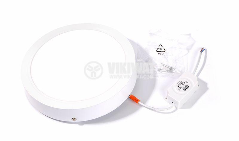 LED панел за обемен монтаж 24W, 220VAC, 6400K, студенобял, ф300mm, BP03-32430 - 8