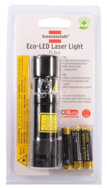 Eco-LED flashlight with laser, 8LEDs, 50m, metal housing - 2