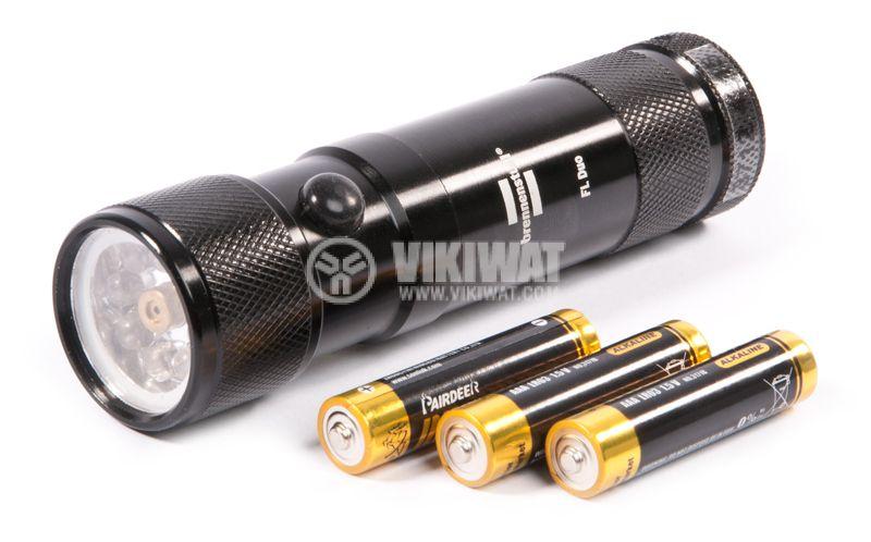 Eco-LED flashlight with laser, 8LEDs, 50m, metal housing - 1