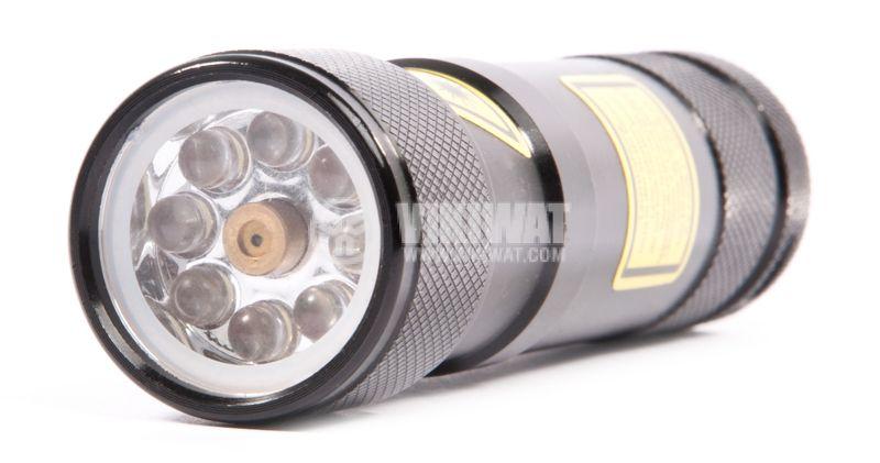 Eco-LED flashlight with laser, 8LEDs, 50m, metal housing - 4