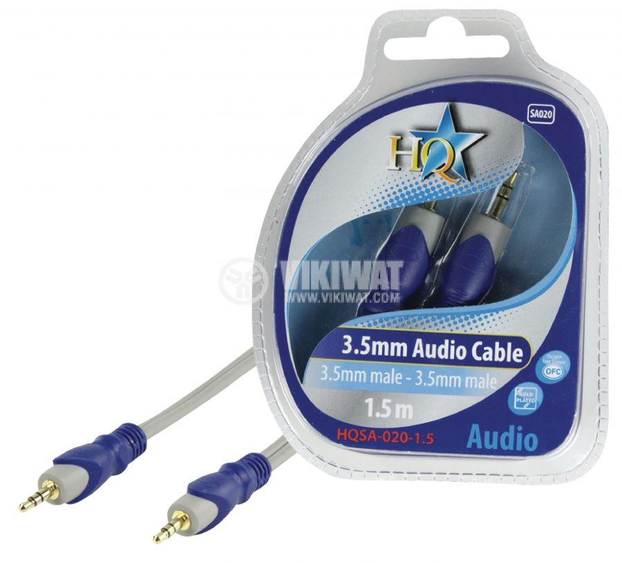 Cable, plug 3.5 stereo/m-plug 3.5 stereo/m, 1.5m - 1
