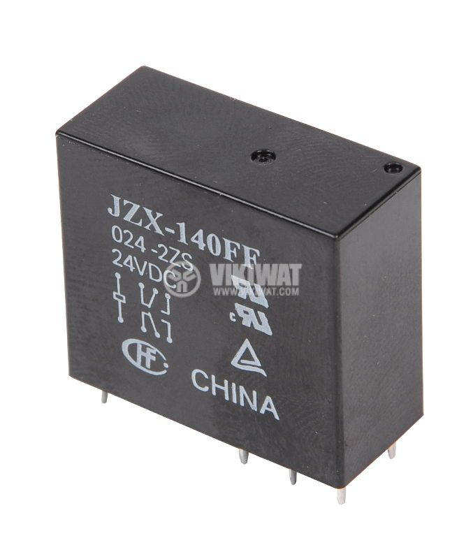 Electromechanical Relay universal, JZX-140FF, 24VDC 250VAC/5A DPDT-2NO + 2NC - 1