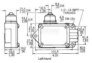 Limit Switch BAF1-2RN RH, SPDT-NO+NC, 20A/250VAC, plunger - 2
