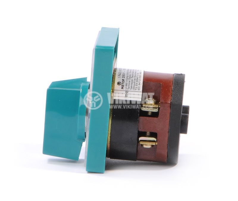 Rotary cam switch, 10А, 250VAC, 1 section, 2 contacts, 3 position, Metop - 4