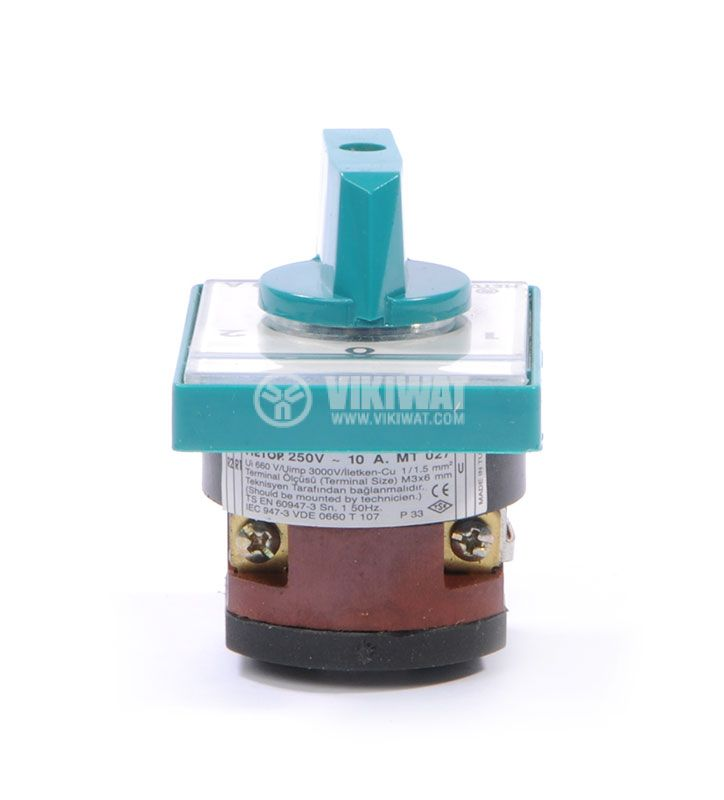 Rotary cam switch, 10А, 250VAC, 1 section, 2 contacts, 3 position, Metop - 6