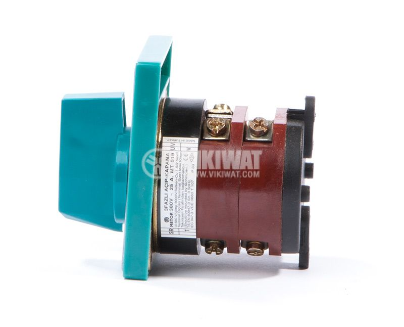 Rotary cam switch, 25А, 380VAC, 2 sections, 3 contacts, 2 position, Metop - 4