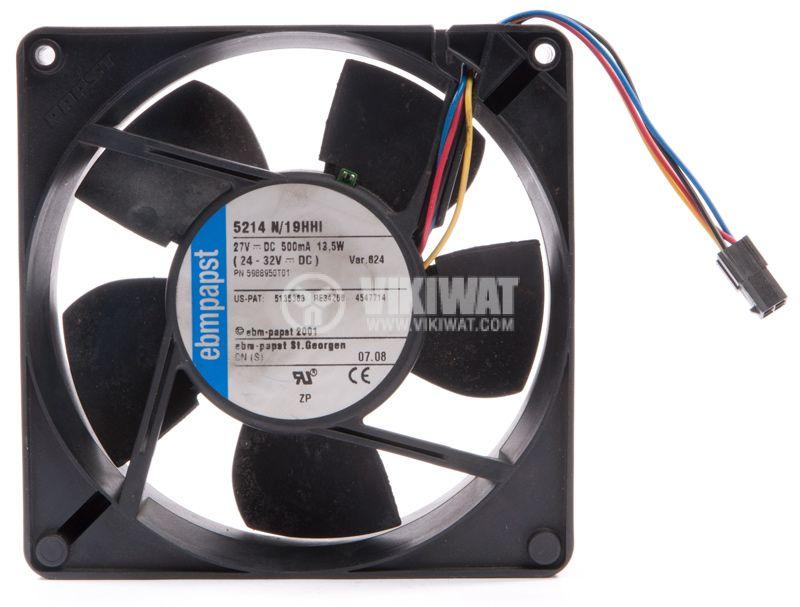 Fan 5214 N / 19HHI, axial, 127x127x38 mm, 27VDC, 500mA, ball bearing - 1