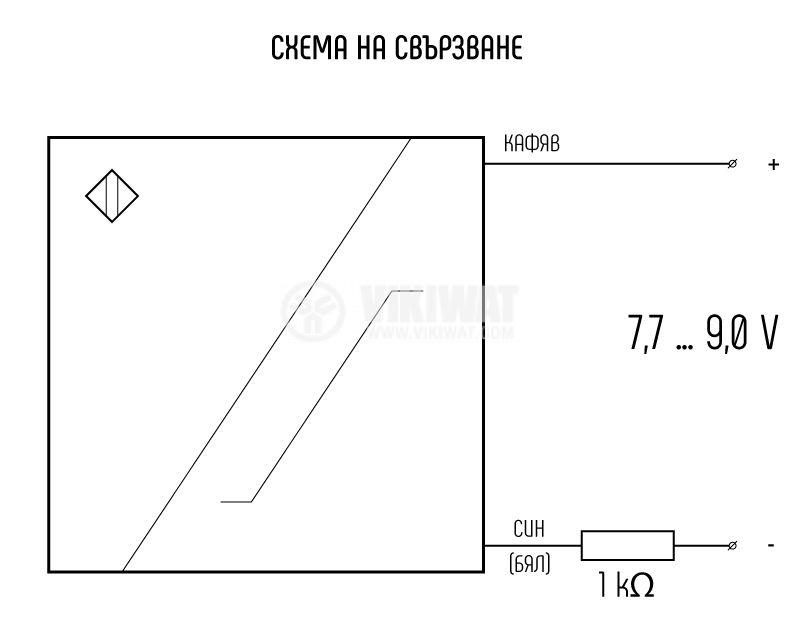 Proximity Switch NAMUR IN06ES1 ф6.5x40mm 7-9VDC, range 1mm, shielded - 3