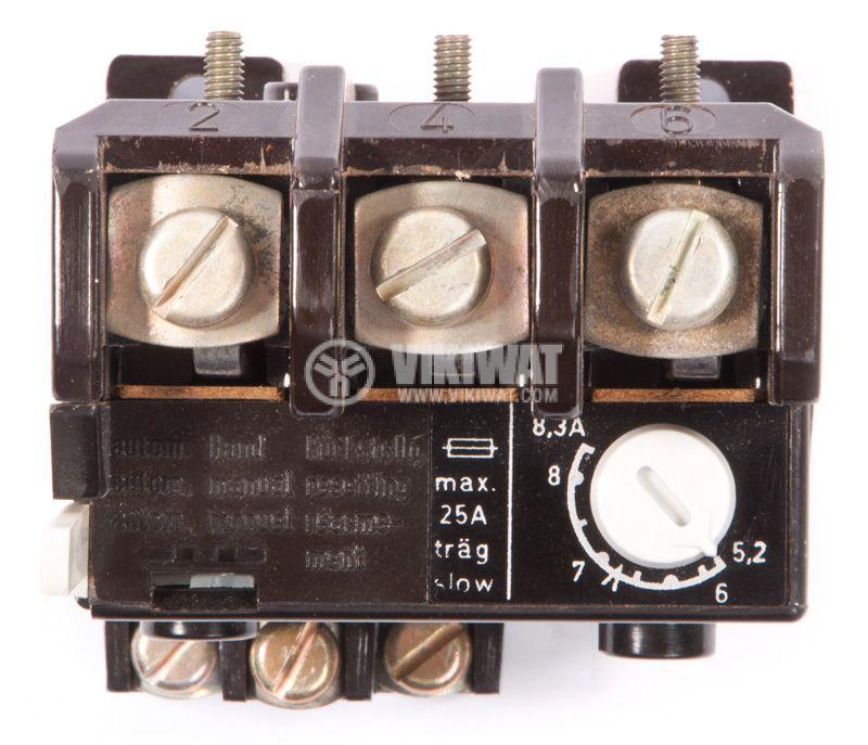 Thermal protection relay, TSA 45P, TRI-PHASE, 5.2-8.3A, 2PST - NO + NC, 6A, 380VAC - 3