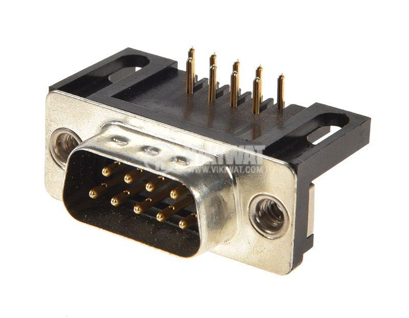 D-Sub конектор, Canon, 9 пина, мъжки, ъглов, за платка - 1