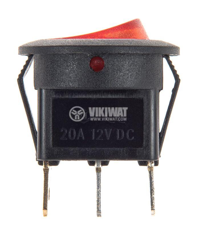 Rocker превключвател, 2 позиции, OFF-ON, 20A/12VDC, отвор ф20mm - 2