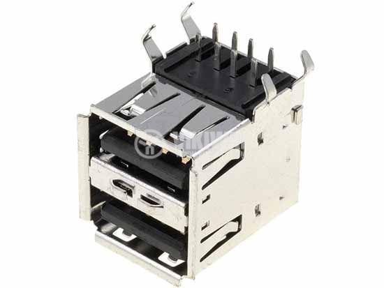 Socket USB A, USBA-2G, double, angle 90 °, THT