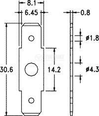 Конектор, плосък, PC12250, 6.3x0.8mm, мъжки, двоен - 2