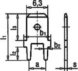 Connector flat, FS1536/NC, 6.3x0.8mm, male, single - 2