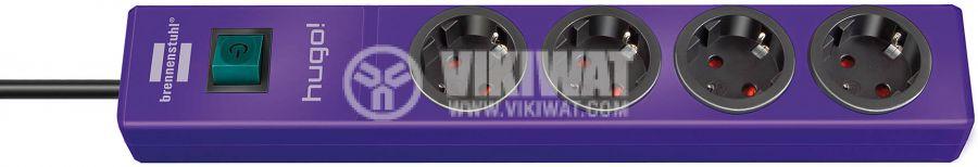 Hugo! 4-way power strip violet 2m H05VV-F 3G1.5