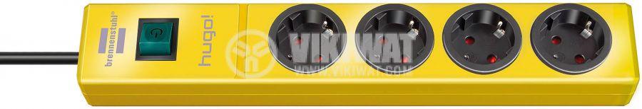 hugo! extension socket 4-way yellow 2m H05VV-F 3G1.5