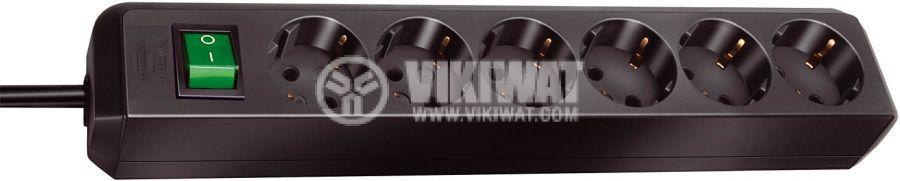 Разклонител 6-ца, 3m кабел, 3х1.5mm2, черен, с ключ