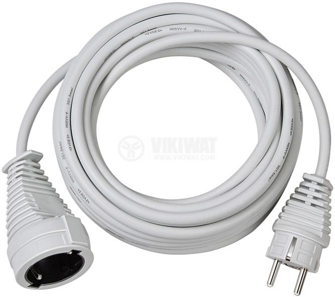 Quality extension cable 10m white H05VV-F 3G1,5