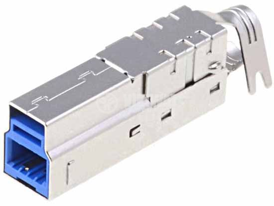 Connector, USB B, TUEB9M6C1LET, female, THT