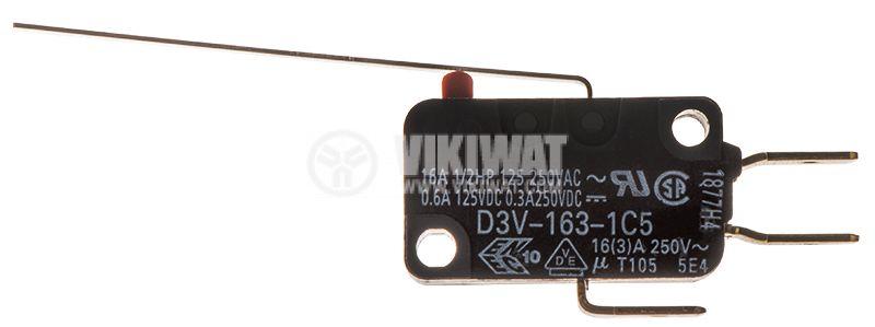 Микропревключвател с лост, SPDT, 16A/250VAC, 27.8x10.3x15.9mm, ON-(ON), D3V-163-1C5 - 1