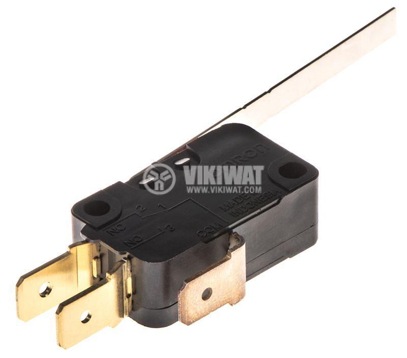 Микропревключвател с лост, SPDT, 16A/250VAC, 27.8x10.3x15.9mm, ON-(ON), D3V-163-1C5 - 2