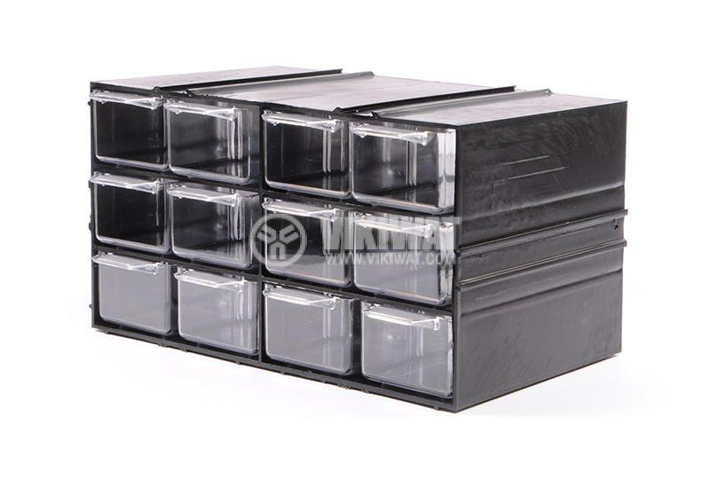 Модул с 12 броя чекмеджета, черен - 1