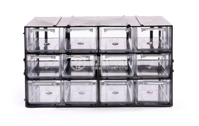 Модул с 12 броя чекмеджета, черен - 3