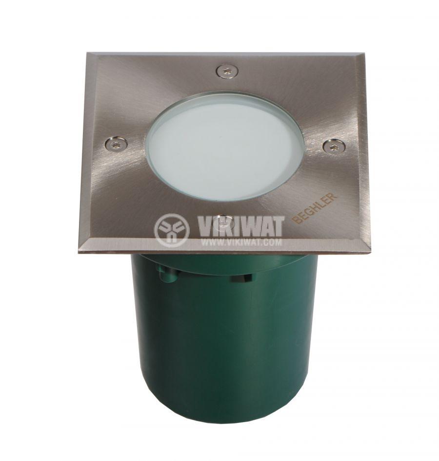 LED осветително тяло за вграждане в земя BT30-0112, 1.2W, 220VAC, IP67, 6400K, 105x105mm - 1