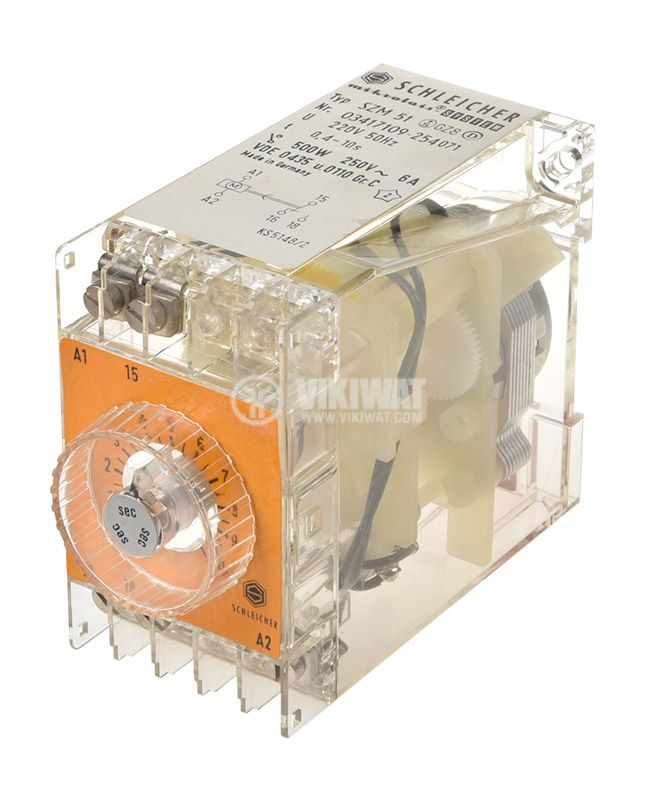 Time relay SZM 51, analog, 250V, 6A, SPST NO, 0.4sec - 10sec - 1
