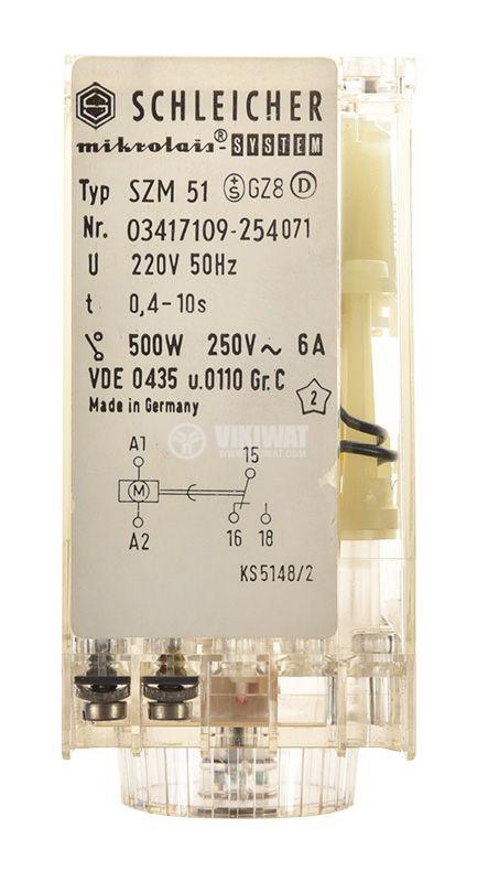 Time relay SZM 51, analog, 250V, 6A, SPST NO, 0.4sec - 10sec - 4
