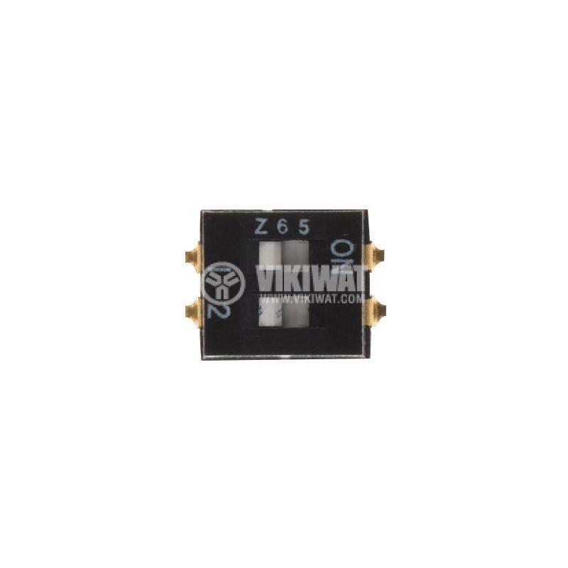 Микропревключвател DIP, 2 полюсен, SPST, ON-OFF, A6SN2101 - 1