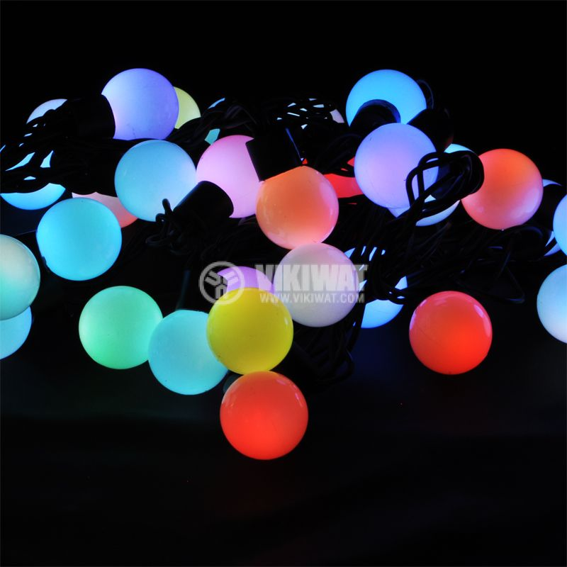 LED christmas lights type rope with balls, 5.5m, 50LEDs, colored - 1