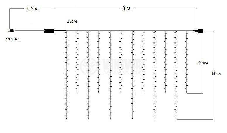 Коледна украса тип висулки 3m цветна RGB 100LEDs IP44 външен монтаж - 5