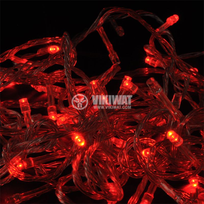 Christmas decoration rope type L1001-1008, 10m, 4W, red, IP44, 100 LED, outdoor installation - 1