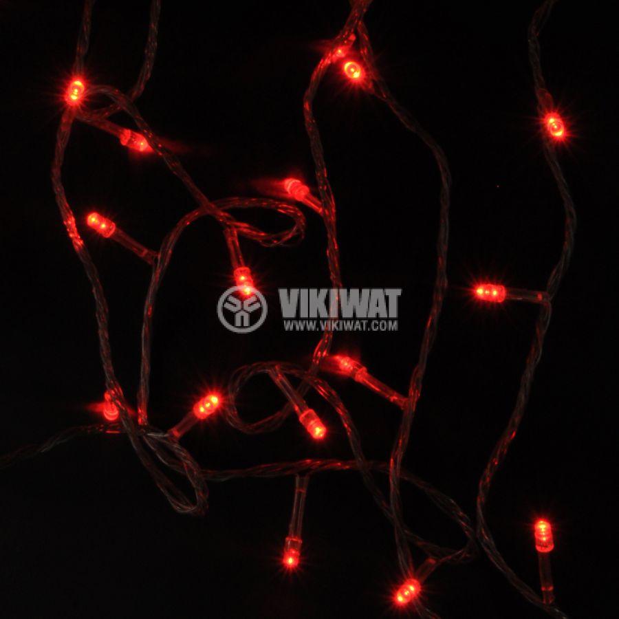 Коледна украса тип въже L1001-1008, 10m, 4W, червени, IP44, 100 LED, външен монтаж - 5