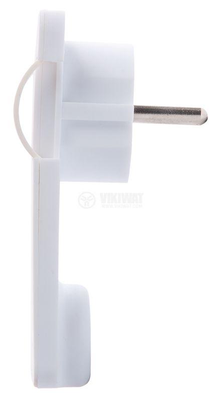 Triple plug type Shuko, 250VAC, 16A, 90 °, PVC, White, Rectangular - 2