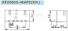 Конектор за печатен монтаж мъжки, VF25003-6WA, 6 пина - 2