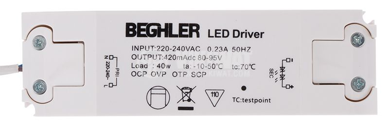 LED power supply (current driver), 80-95V, 420mA, 40W - 2