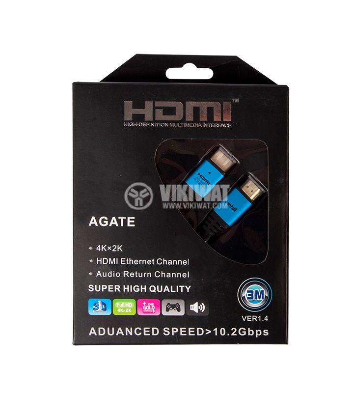 Висококачествен кабел, HDMI/m-HDMI/m, 3m, 1.4v - 2