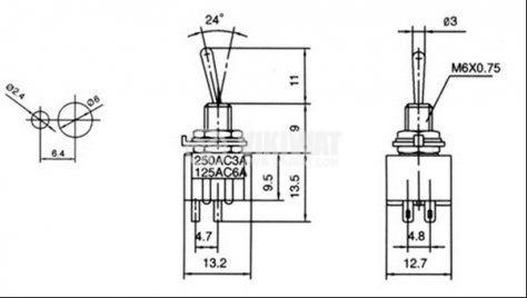 ЦК ключ MTS-201, 3А/250VAC, 6А/125VAC, DPST, ON-OFF - 2