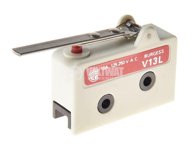 Micro switch BURGESS V13L, NO+NC, 10A/250VAC, lever - 1